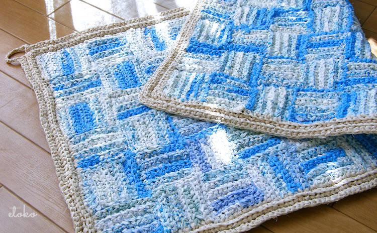 かぎ針編みで編まれた裂き編みのマット