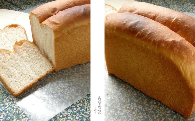 朝食用に焼いた山型食パン