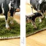 麻糸で牧草を編みました|牛さんと一緒に飾ろう