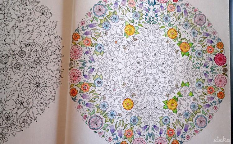 塗り絵「ひみつの花園」の花のマンダラを塗っている途中