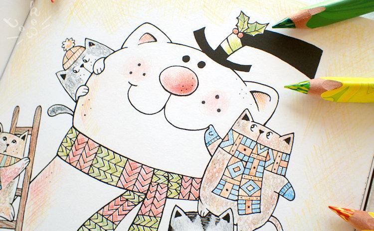 猫たちが雪だるまの表情を描いている