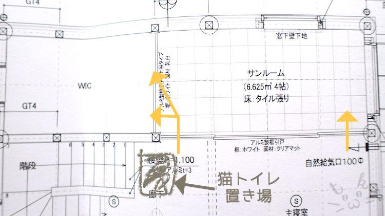 窓の家の間取り図でクローゼットへの出入りのしかたを示している