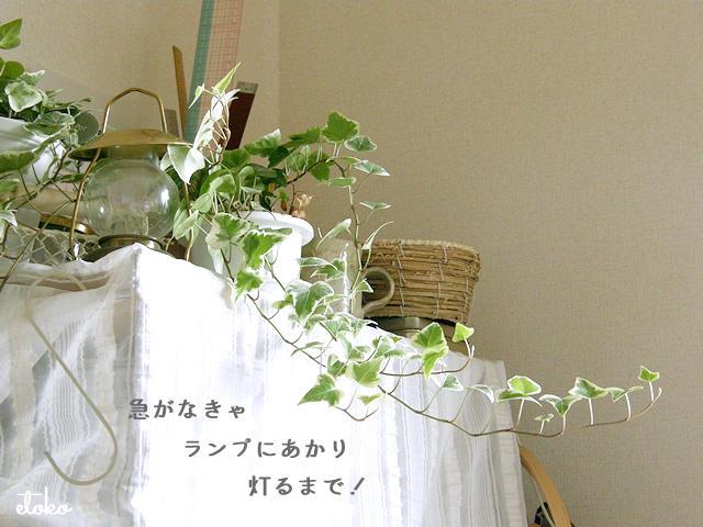 作業棚の上にアイビーの鉢植えや手提げのランプに、裁縫道具などがのせられている