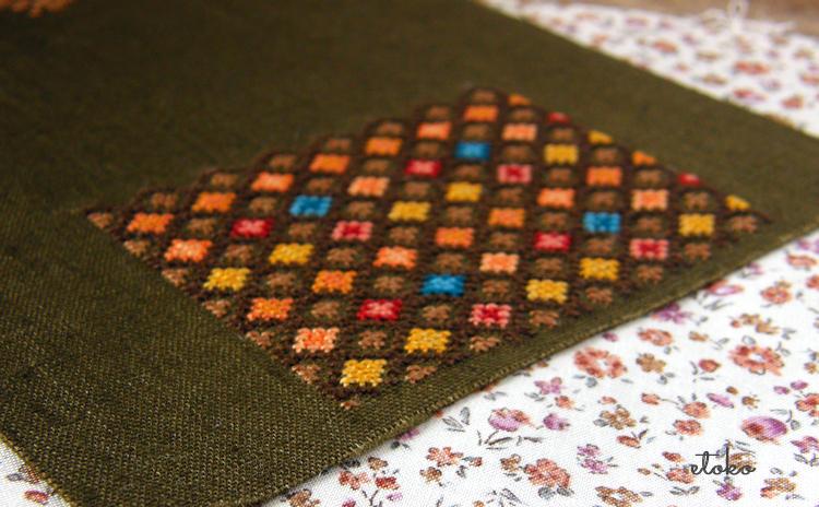秋の色を集めたクロスステッチと内布