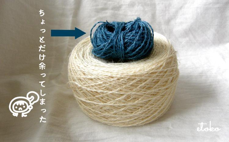 白と青のジュートの糸玉