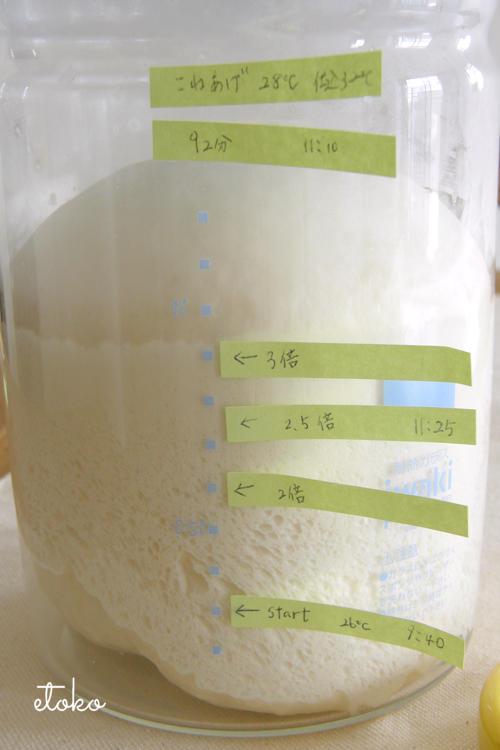 目盛りのついた発酵ビンに入れてパン生地の発酵具合が算出した数値の通りかを確かめている