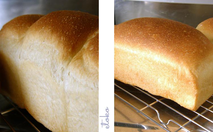 デロンギコンベクションオーブンで焼いた食パンがふたつ網の上に並べて置かれている