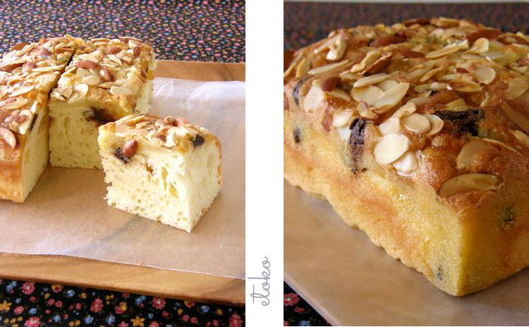 チョコレート入りのパン生地で作る焼き菓子カレはアーモンドがたっぷりとのっている四角のパン