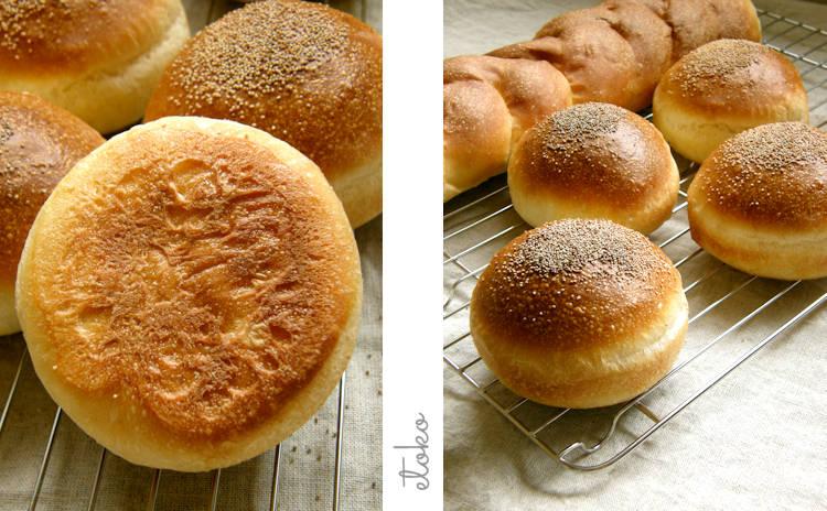 こんがり焼けたパンの裏側とポピーシードをちらしたバーガーバンズ