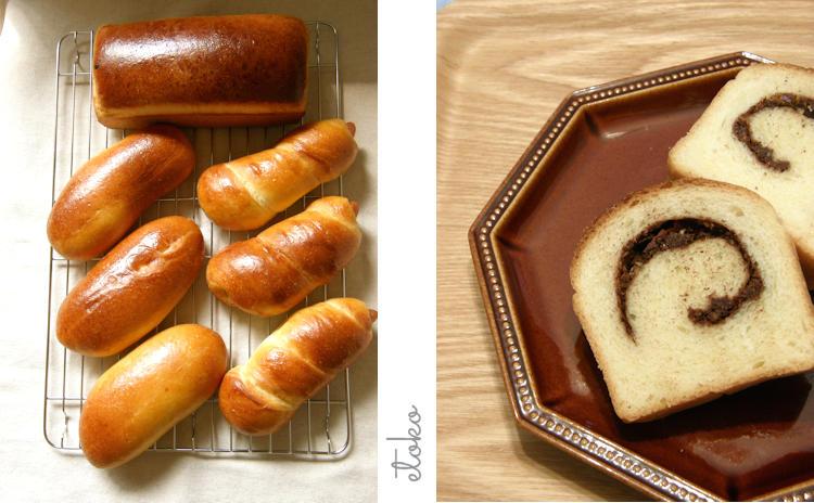 ハラーの生地からソーセージを巻いたパンとコッペパンにナッツを巻いた食パンを焼いている