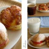 リュスティックにハムとトマトを挟んだサンドイッチと朝食の風景