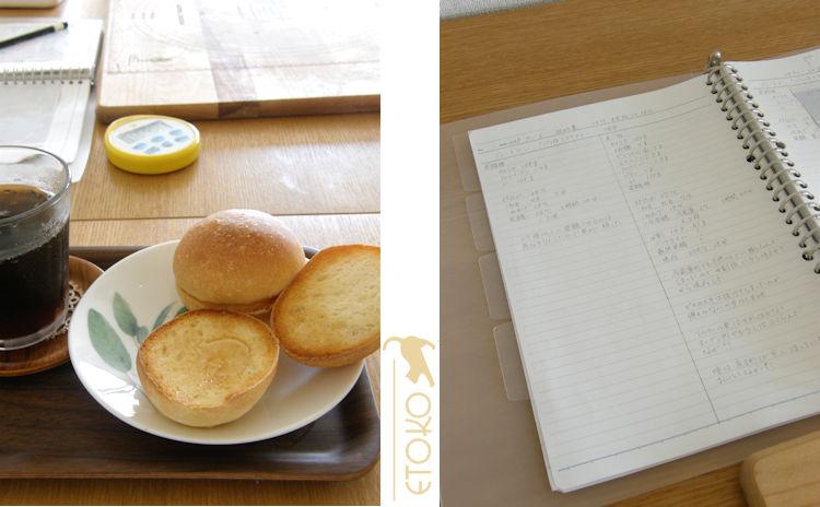 トレイの上に半分に割って軽くトーストしたブレートヘンとアイスコーヒーがのせられていて、その隣にはパン焼きのデータを記したノートが開いて置いてある
