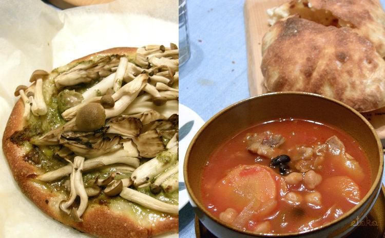 バジルソースにきのこをのせたサクサクピザとひよこ豆がゴロゴロ入ったトマトスープ