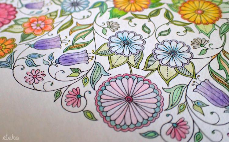 ひみつの花園の花の塗り絵を無印良品の色鉛筆で塗っている