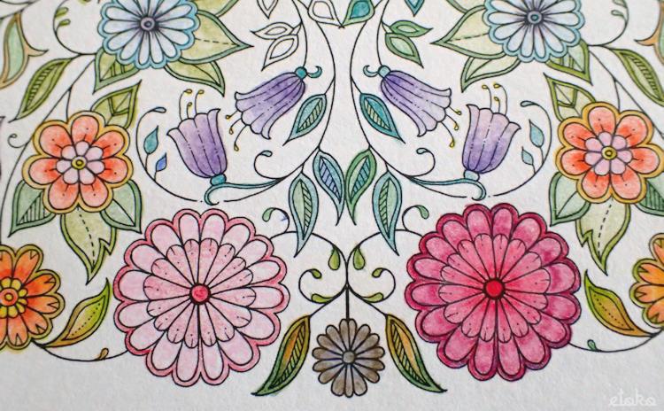 無印良品の色鉛筆で塗っている花の塗り絵