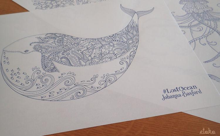 ジョハンナ・バスフォードの「海の楽園」からクジラの塗り絵をプリントアウトしたもの