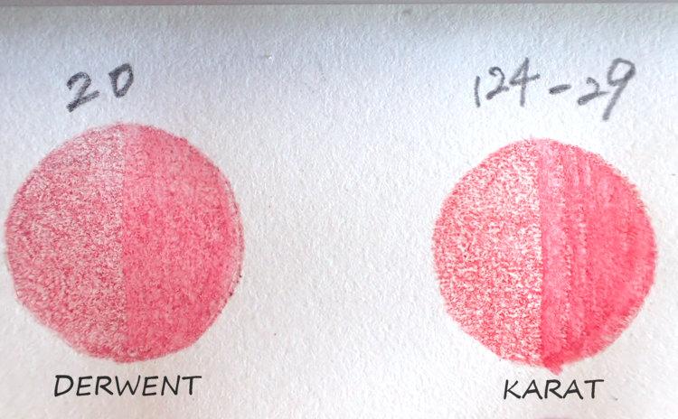 ダーウェントウォーターカラーとステッドラーカラトの赤系の色比較