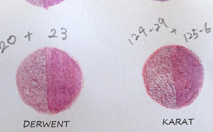 ダーウェントウォーターカラーとステッドラーカラトの赤紫系の色比較