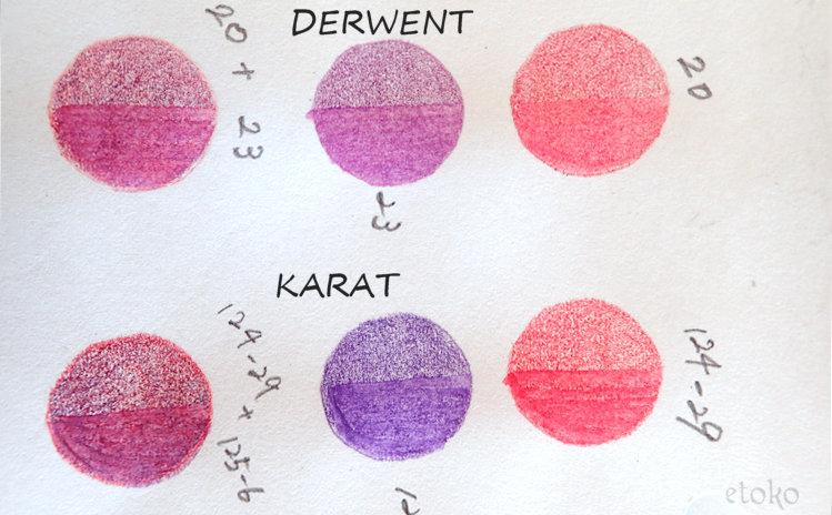 ダーウェントウォーターカラーとステッドラーカラトを3色それぞれの色合いを比べている