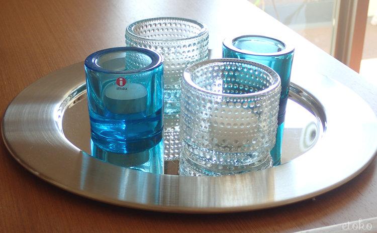 青系のさわやかな色のkiviとカステヘルミのキャンドルホルダー