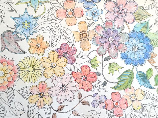 コヒノールマジックマーブルペンシルで花の線図の試し塗りをしている