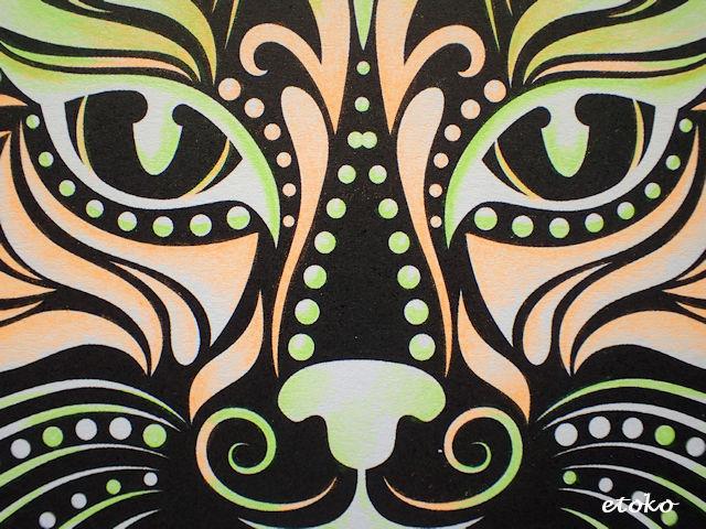 ステッドラーテキストサーファードライ(蛍光色鉛筆)で塗った猫塗り絵のアップ