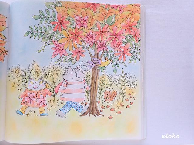 水彩色鉛筆で下塗りした上から、ダーウェントアーチストで仕上げ塗りをした塗り絵