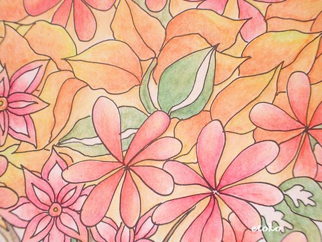オレンジ色の葉と赤い花の塗り絵