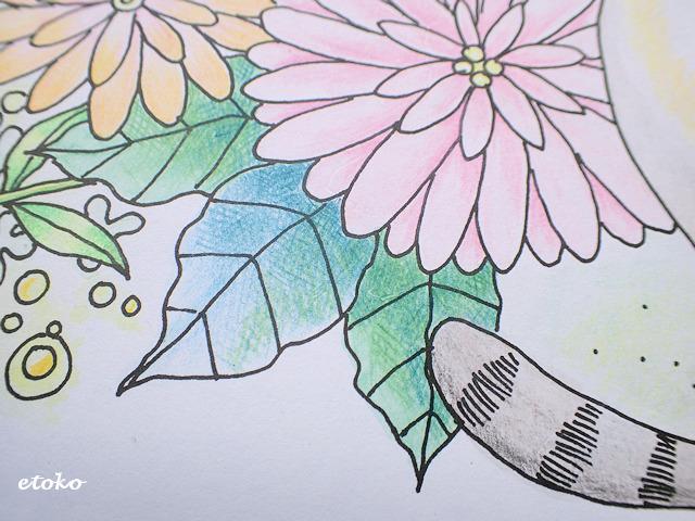 葉っぱの部分にたくさんの線を重ねてクロスハッチング風に色鉛筆で塗っている