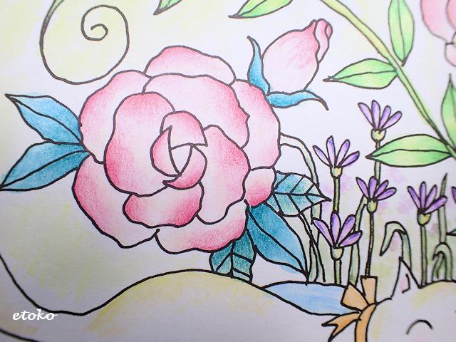 水彩の上から油性色鉛筆で陰影をつけたお花