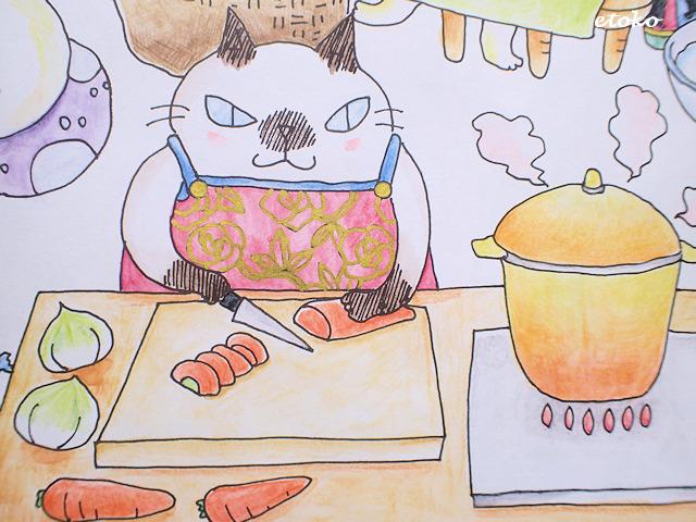 おいしそうな湯気を吹く鍋の横でニンジンを切る猫の塗り絵