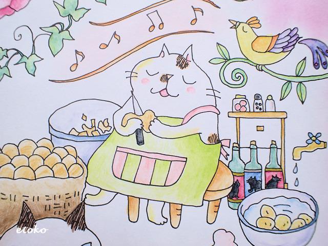 椅子に腰かけてジャガイモの皮をむく三毛猫の後ろで鳥が歌っている