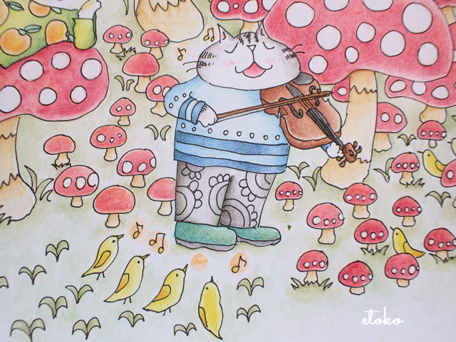 きのこの森でバイオリンを弾いている猫とその足元でさえずる小鳥の塗り絵