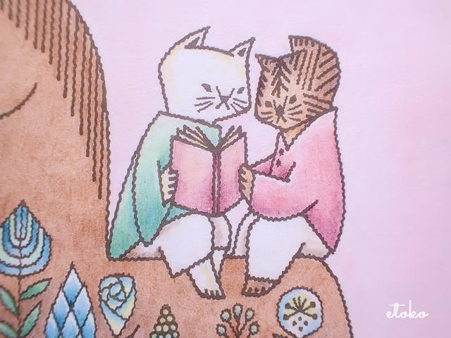 本を読む猫さんたちの塗り絵