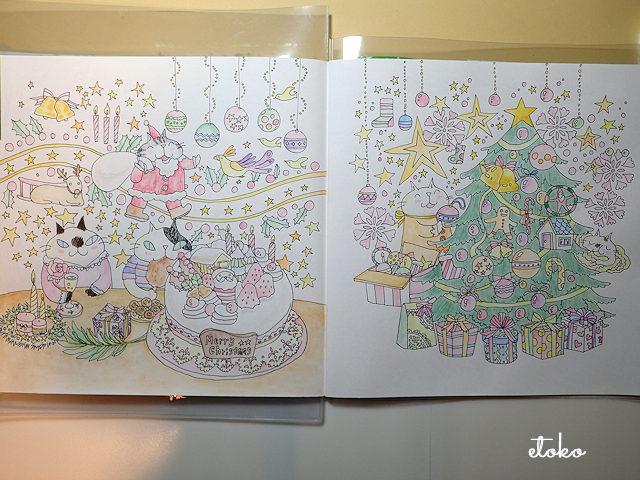 水彩色鉛筆で下塗りをしたねこちゃんズのクリスマス塗り絵