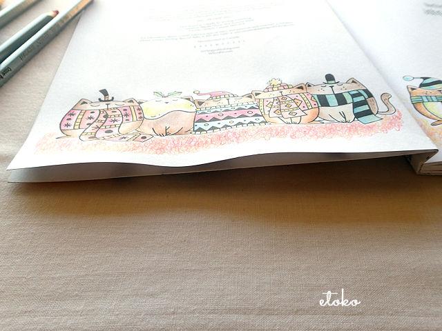 水彩色鉛筆で水筆を使ったところの紙がたわんでいる