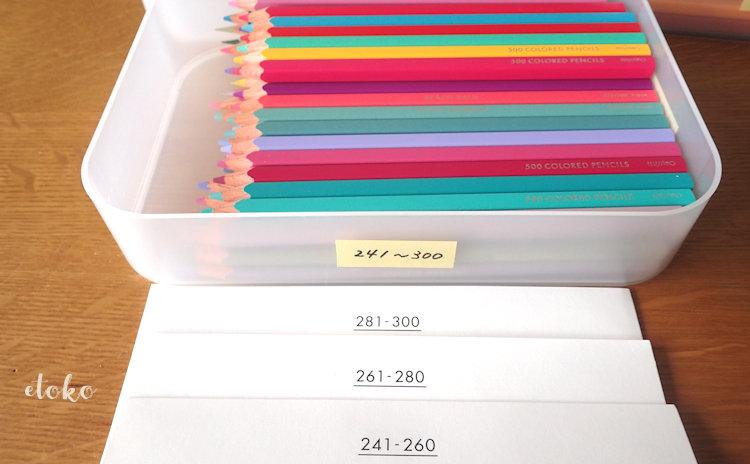 ダイソーの積み重ねボックスにフェリシモの500色の色えんぴつ60本とカラーチャートを入れている