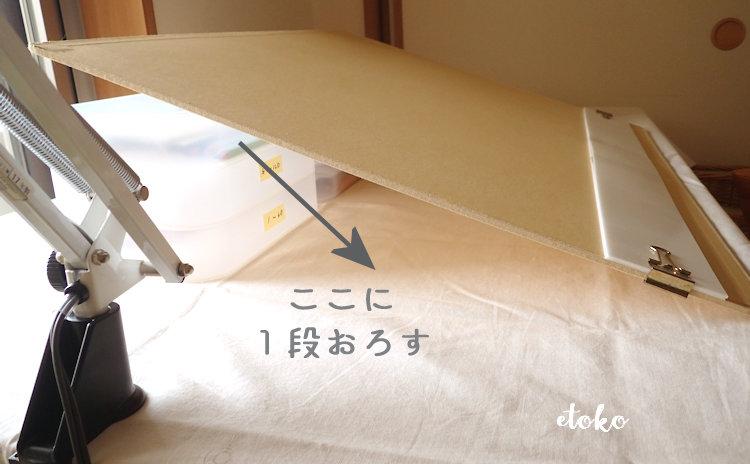 立てかけた画板の背面部分。積み重ねボックスの段数を減らす場合の説明