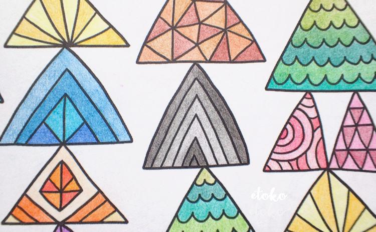 コスミック出版の色鉛筆で三角模様を塗ったところ