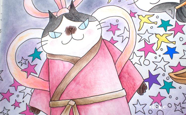 きまぐれ猫ちゃんズのオージ織姫がガウンをまとっているように見える