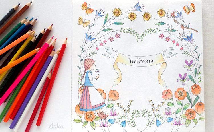 『森のちいさな女の子』の内表紙をコスミック出版の色鉛筆で塗っている