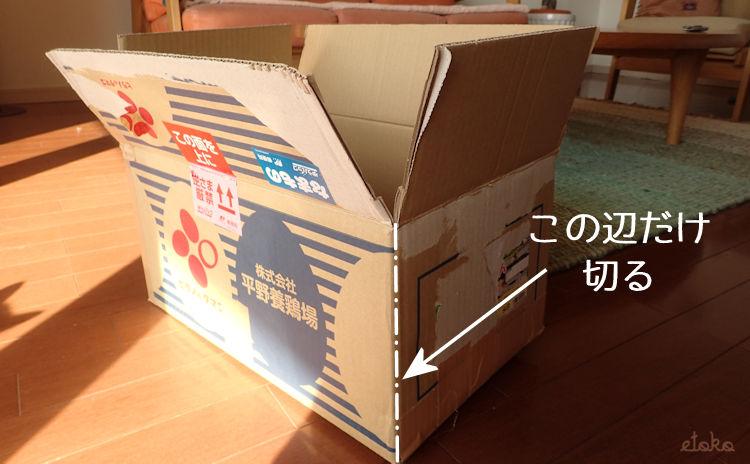 ダンボール箱の一つの辺を示している