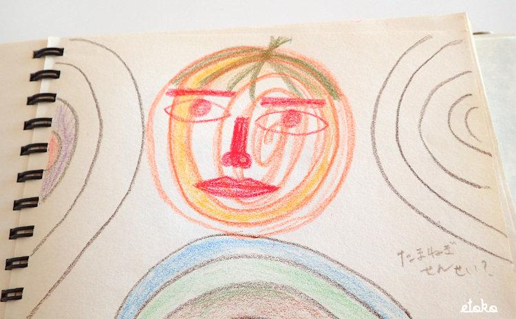 クロッキー帳にたまねぎ先生のような絵が描いてある