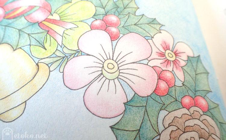 トンボ色辞典の桜色で塗られた淡い色合いのクリスマスローズ