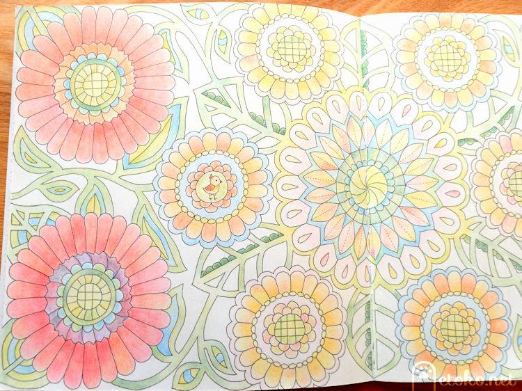 マジックマーブルペンシルで塗られた花の塗り絵左ページ
