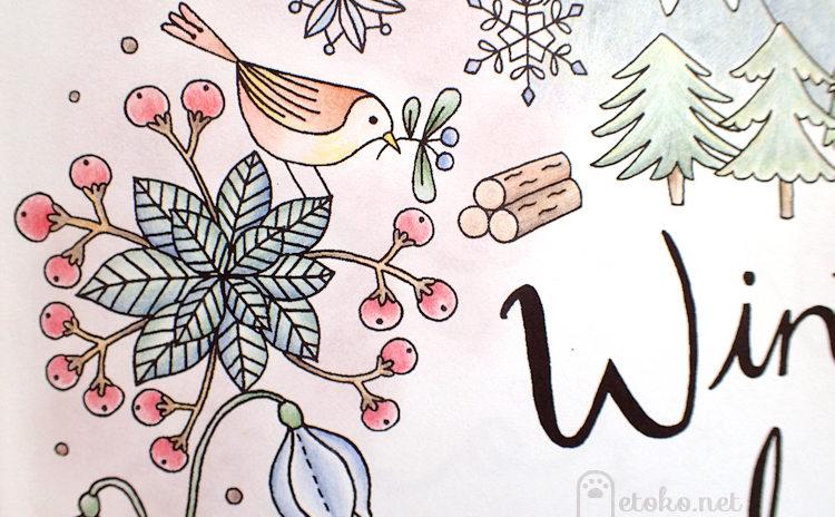 ダーウェントアーチストで塗った植物と小鳥