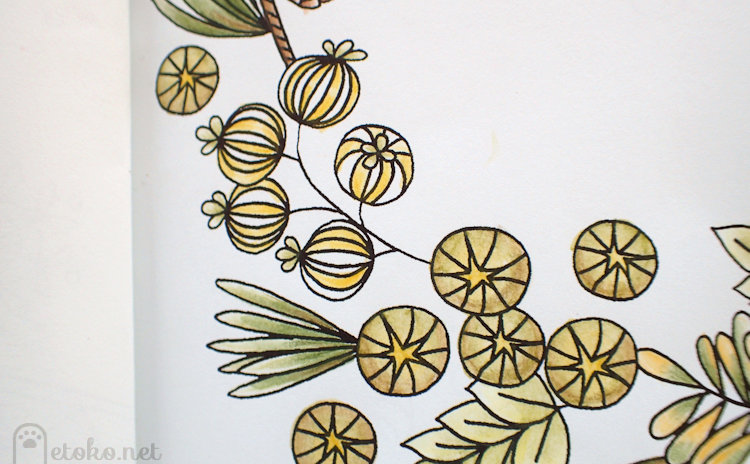 ダーウェントウォーターカラーで塗った植物の実らしきもの