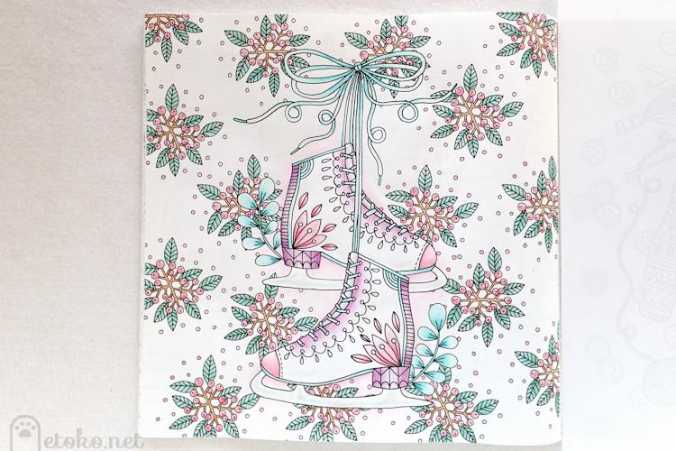 『 Winter Wonderland to Color 』のスケート靴のページをダーウェントウォーターカラーで塗っている